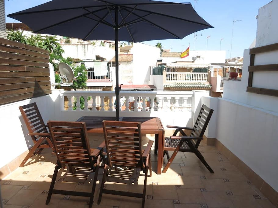 The terrace with views and seating for up to eight people