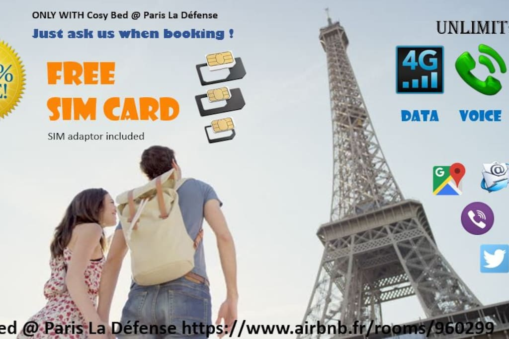 NEW ! Since 01/07/2017 Free SIM CARD during your visit in Paris.