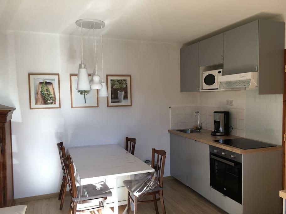 Cuisine séjour avec équipement complet (lave-vaisselle, four grand format, plaque à induction,...)