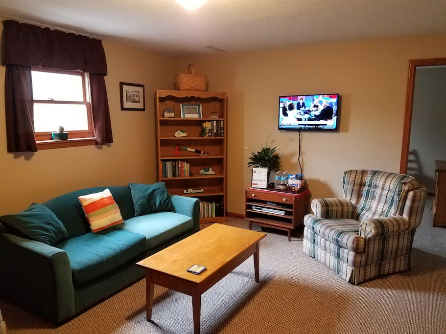 Bedroon #2 with Full size sofa bed, sitting room with HDTV, Desk, and comfortable chairs.