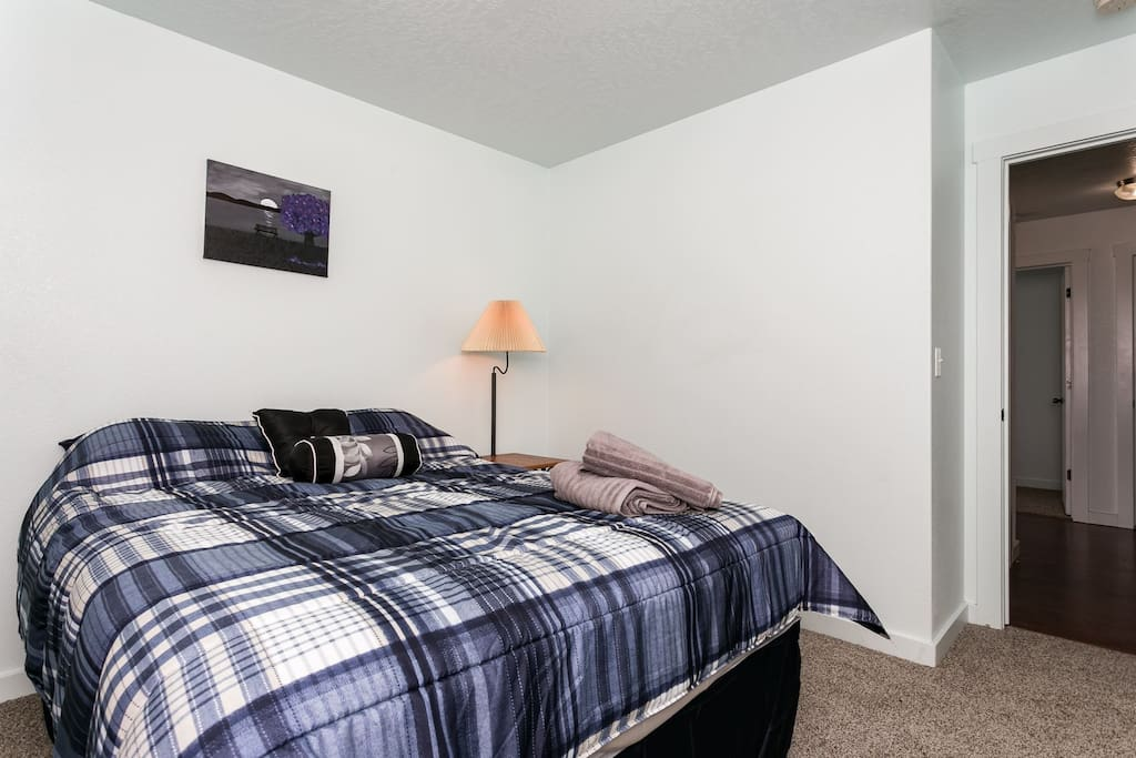 Master Bedroom with brand new queen bed with new carpet
