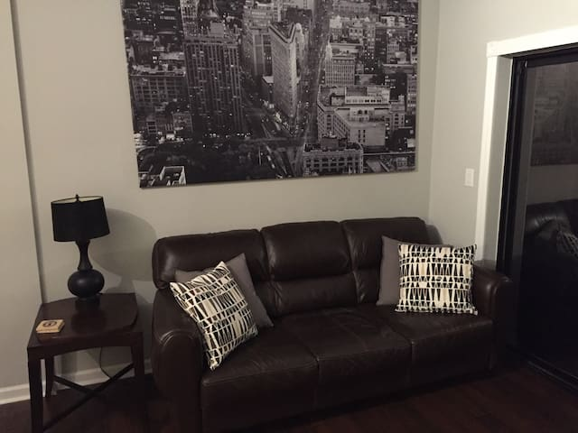 Leather sofa in comfortable living room