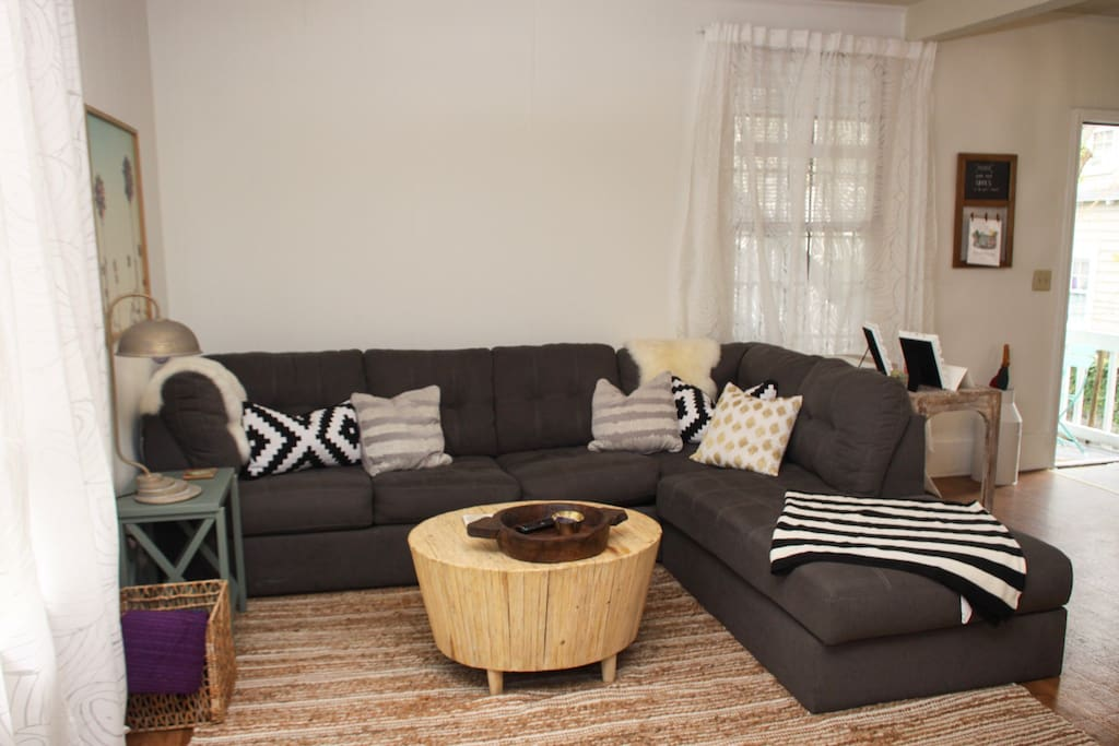 This is our super duper comfy sofa (there's a secret pull out sofa hidden deep inside!)