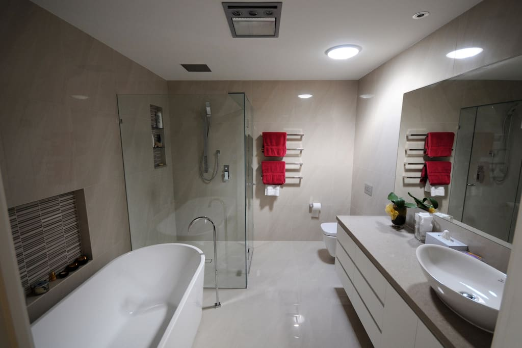 Private Guest Bathroom (with bath, and wall and overhead rainshower)
