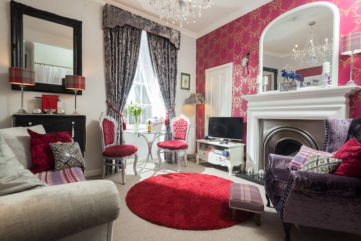 Elegant and cosy lounge with ornate open gas fire.