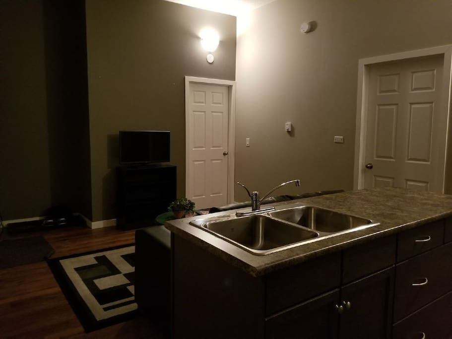 Living room and both bedroom doors