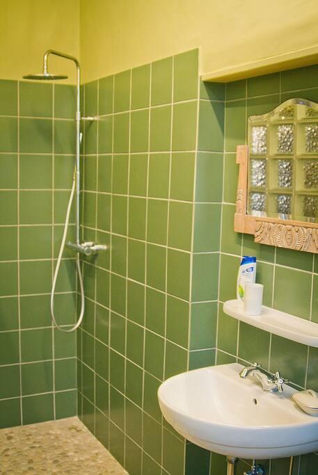 Badkamer met regendouche, lavabo, toilet en wasmachine