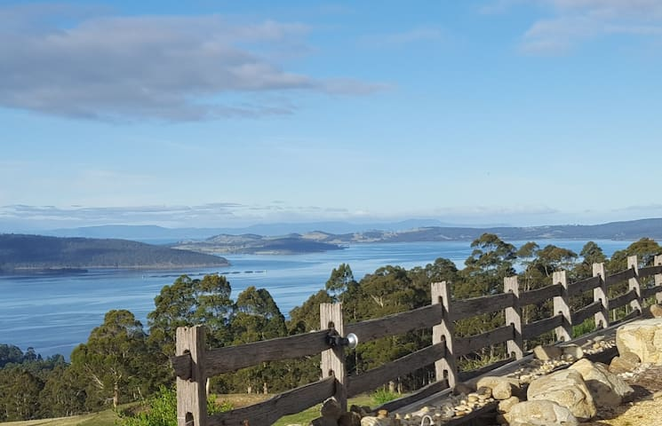 Views down The Channel to Cape Raoul, Tasman Peninsula beyond Bruny Island.