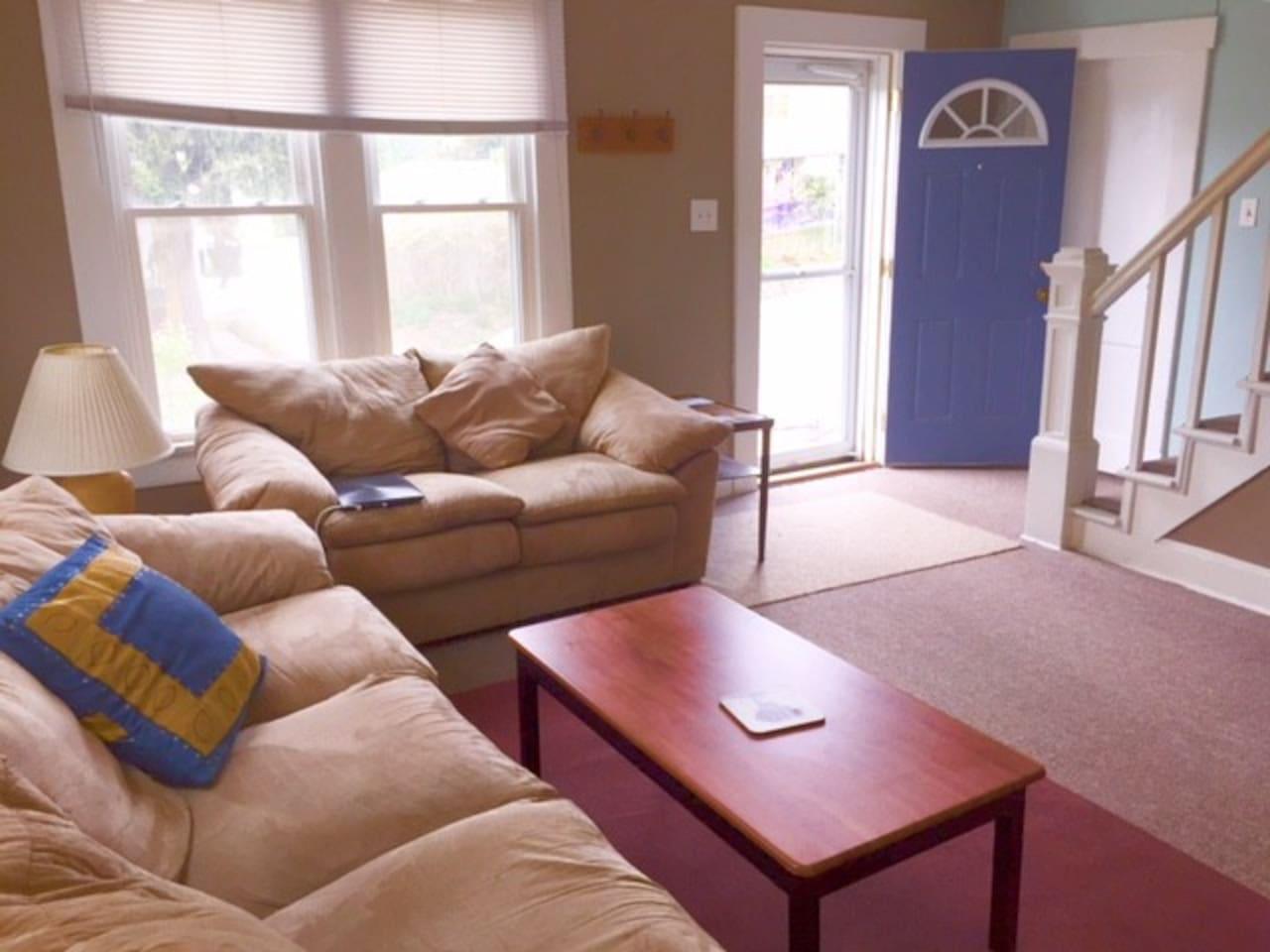 living room with comfy sofas!