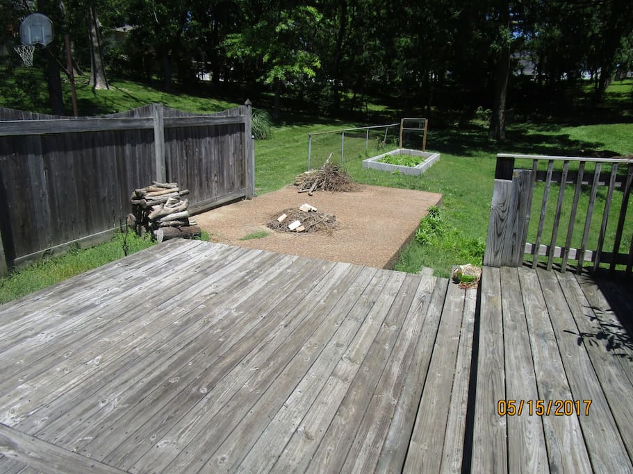 The two outer tiers of the deck and fire pit.