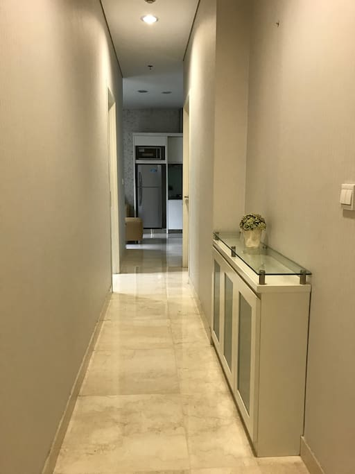 A hallway that connects your room to the living room