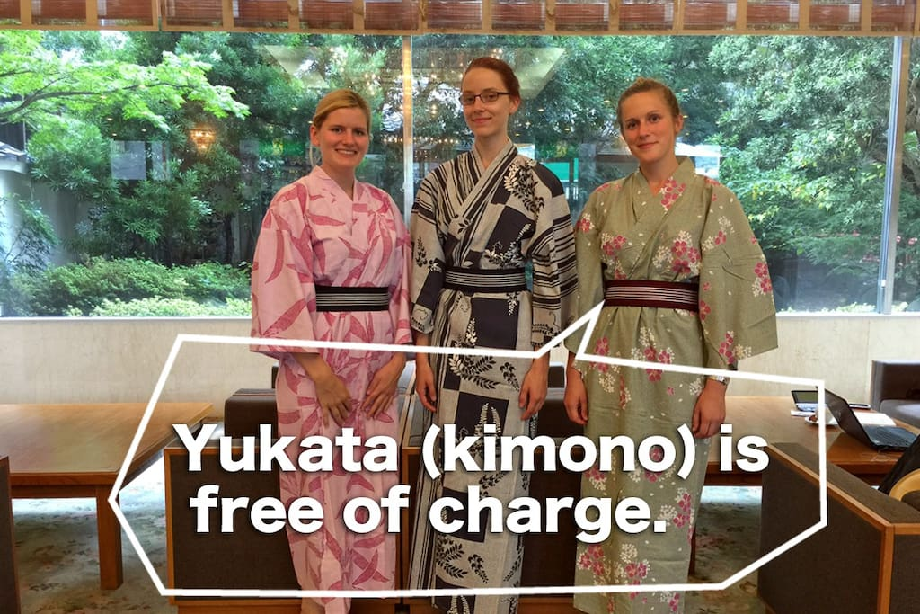 You can wear yukata during your stay.  We have defferent colors for women. For men, there is only one color as you might have  guessed!