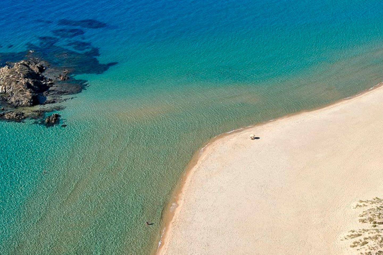 Beautiful aerial view of Chia laguna beach, 10km from Pula