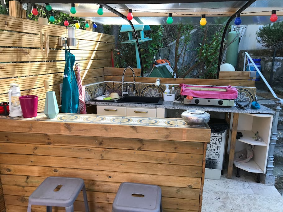 Outside kitchen and bar