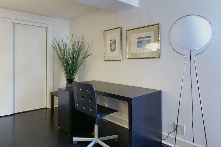 Living room desk area