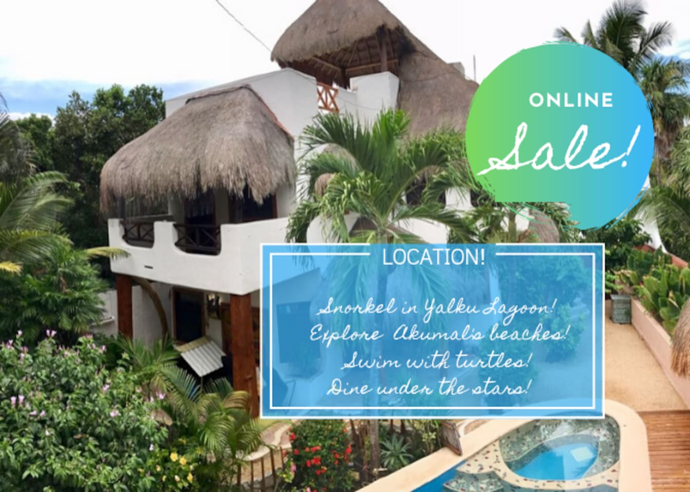 Casa Galeria has a main house with two bedrooms and two baths. Two lovely studio units are adjacent to the main house with private entrances. The main house can be rented alone or with one or more of the studio units. Please inquire about our sale!