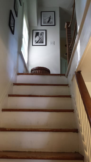 The bedrooms are upstairs