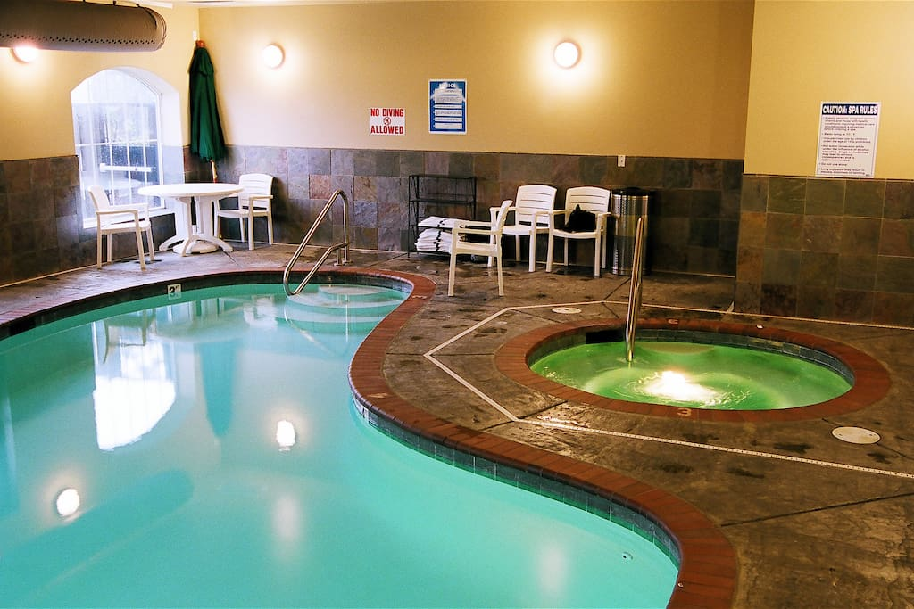 Enjoy the indoor pool and hotub