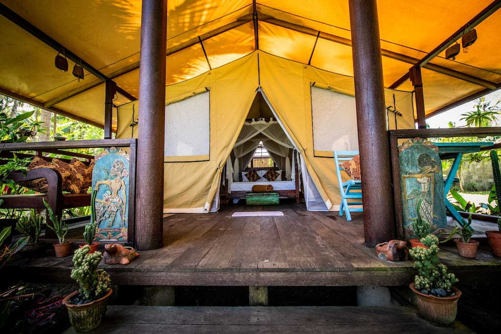 Your own spacious tent just steps away from the beach
