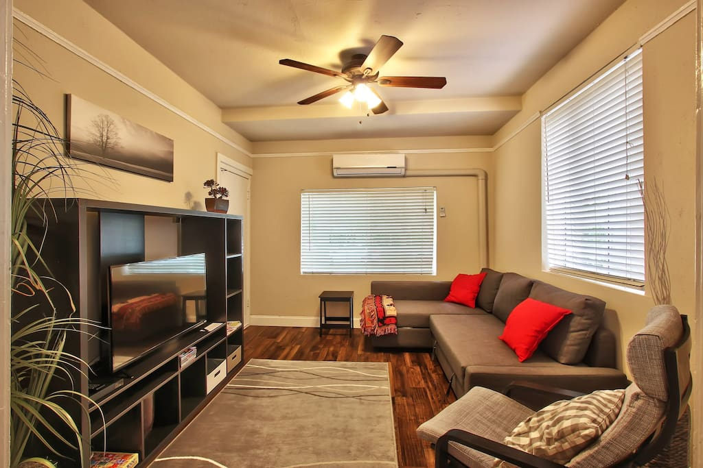 Watch Netflix connected to the flat screen TV or one of the several DVDs in the entertainment center. Fan AC & Heat will keep the temperature just the way you want it