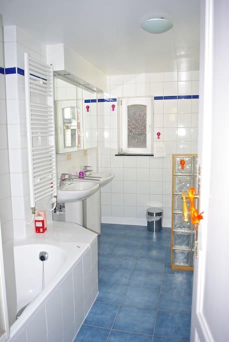 Salle de bain réservée à nos hôtes, spacieuse avec bain douche, bidet, WC et deux lavabos.