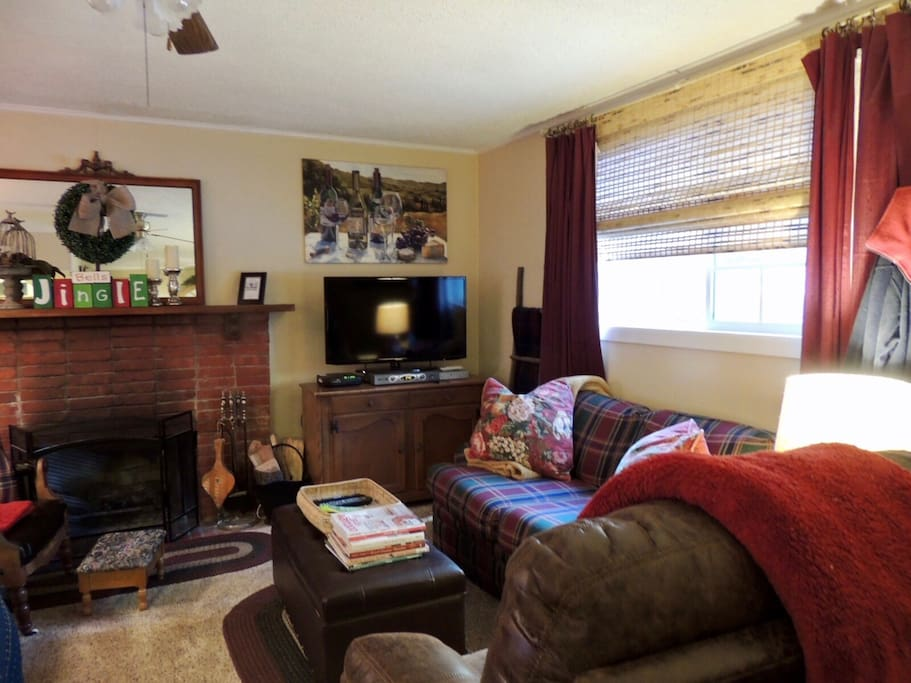 The family/living room at La Petit Cottage, comfortable seating, flat screen tv w/cable and a warm fireplace to snuggle up by.