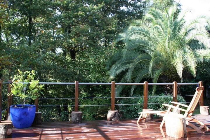 terrasse 50 m2 suspendue, face à 8000m2 de bois