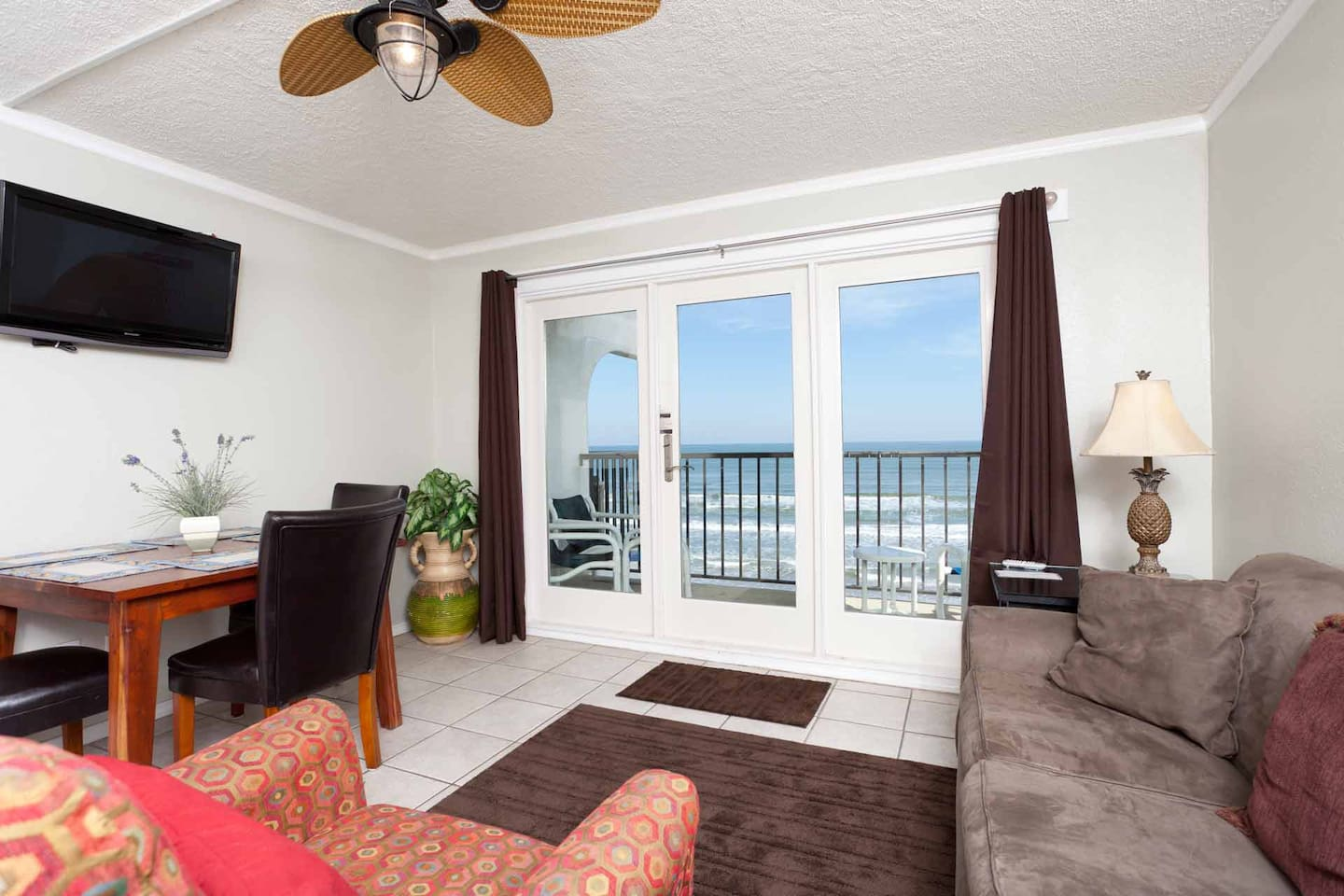 This condo puts you right on the beachfront.