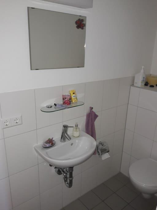 Neue, separate Gästetoillette  mit Waschbecken