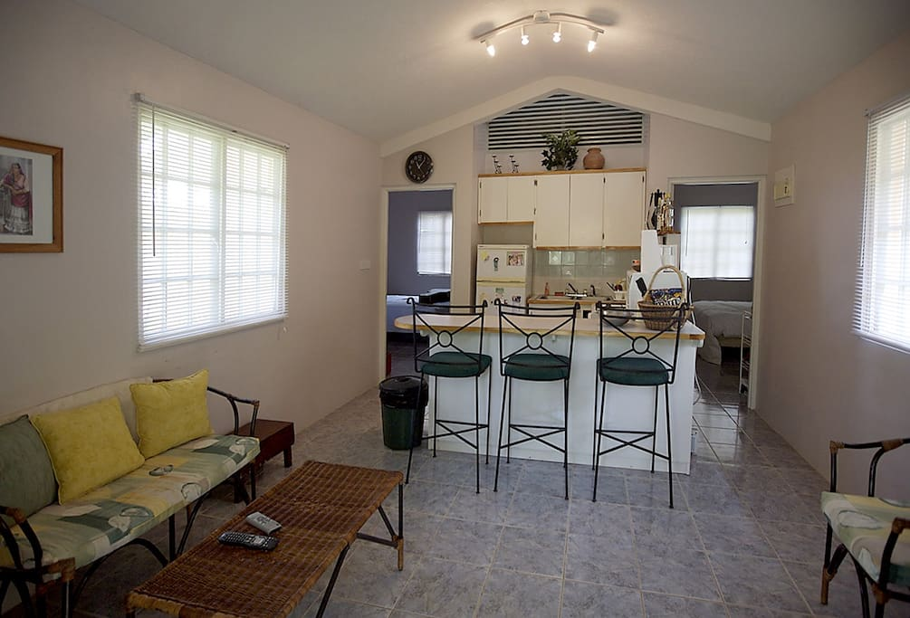 Combined living room and full kitchen with kitchen/breakfast bar.