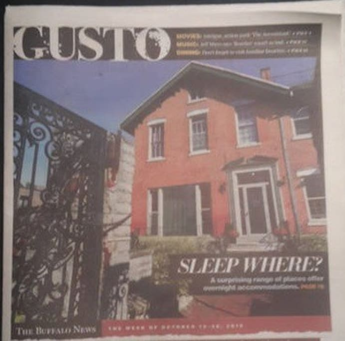 We were named one of the ten most interesting places to stay by the Buffalo News.  You'll stay upstairs, able to look out on Franklin from the three upper windows on the left side of the building (shown above).