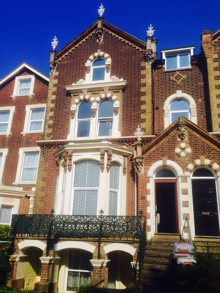 The front of our beautiful Victorian townhouse containing four separate flats. Built 1860s.