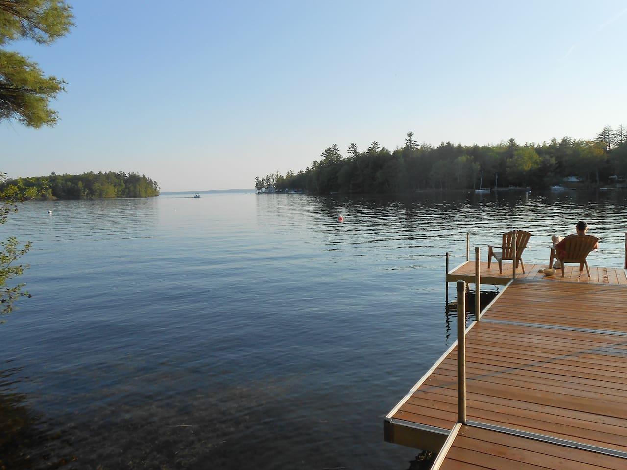View of Sebago Lake from private dock.