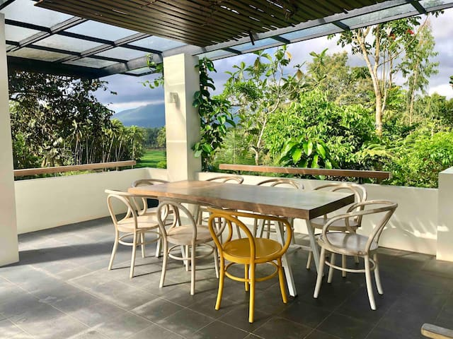Outdoor dining table on the veranda