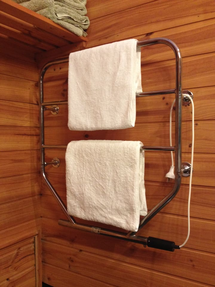 Heated towel rail for your comfort.