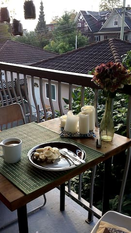 The back balcony is a quiet place to have breakfast
