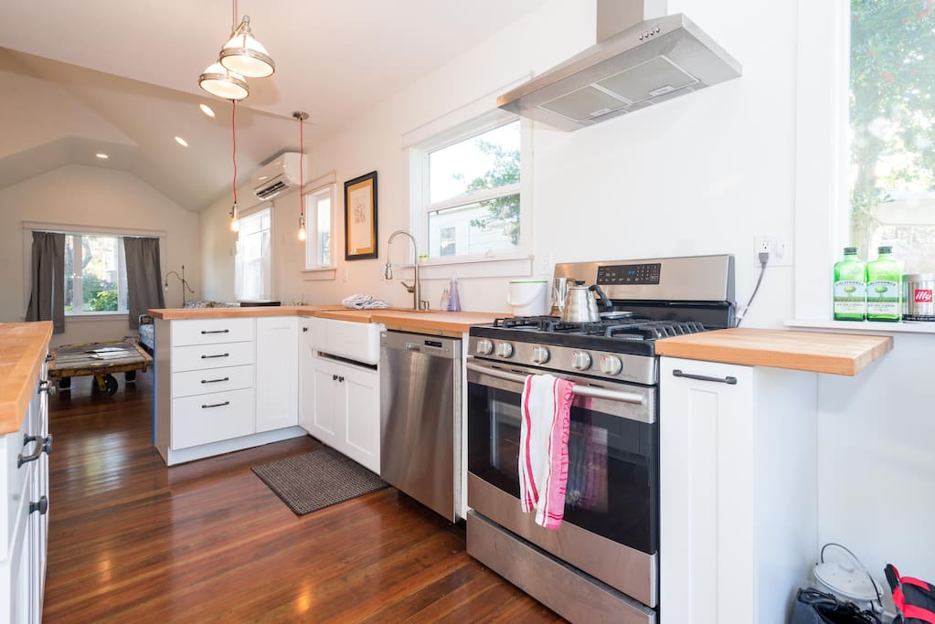 New kitchen. Farmhouse sink, butcher block counters.