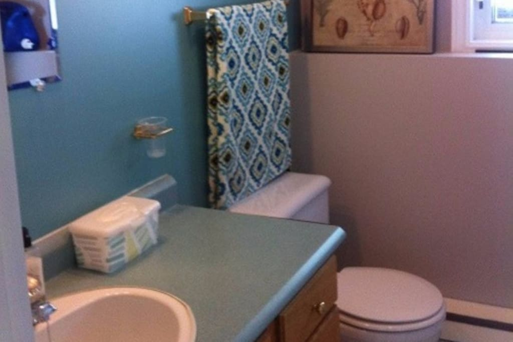 Washroom with Shower and washer and dryer.