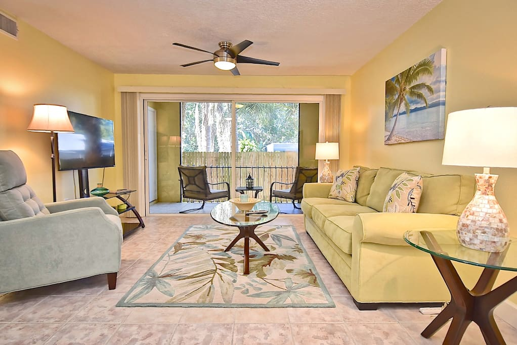 "Totally redone! Spacious 2 bedroom/2 bathroom condo. New furnishings. 50"" TV."