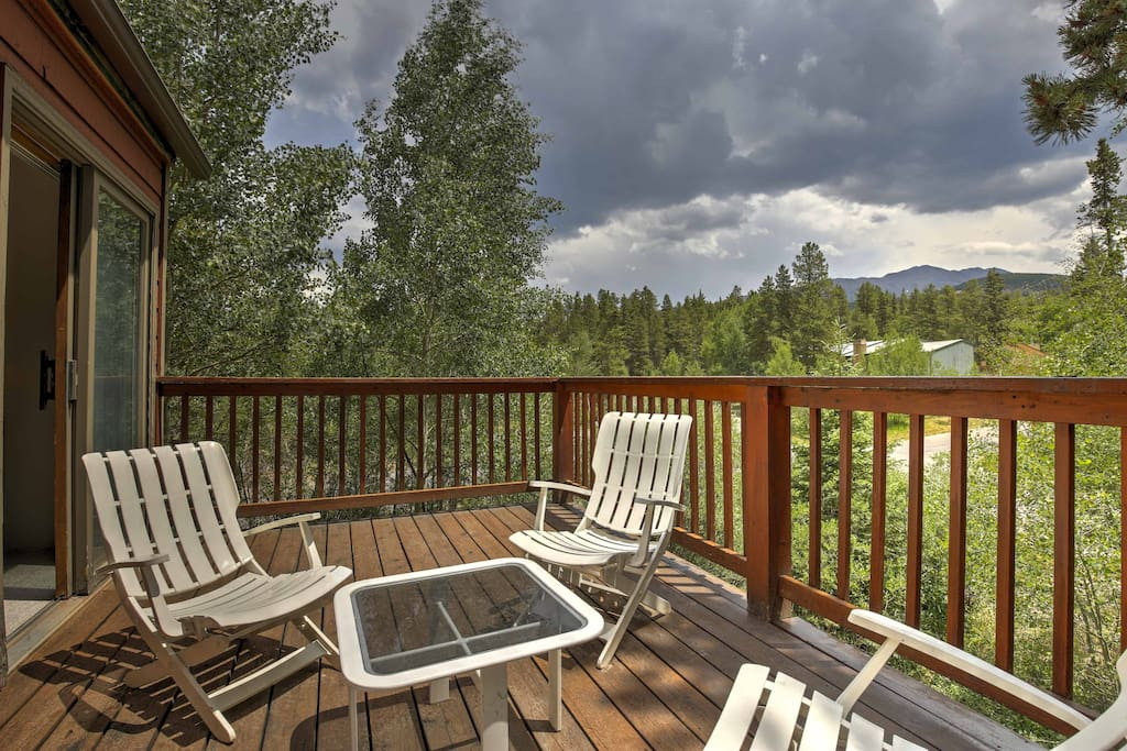 Two decks face to the East and South, offering picturesque views of the Rocky Mountains.