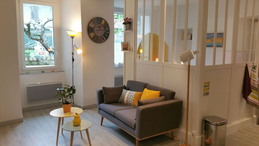 Bright studio with garden view in heart of Evian - Évian-les-Bains - Apartemen