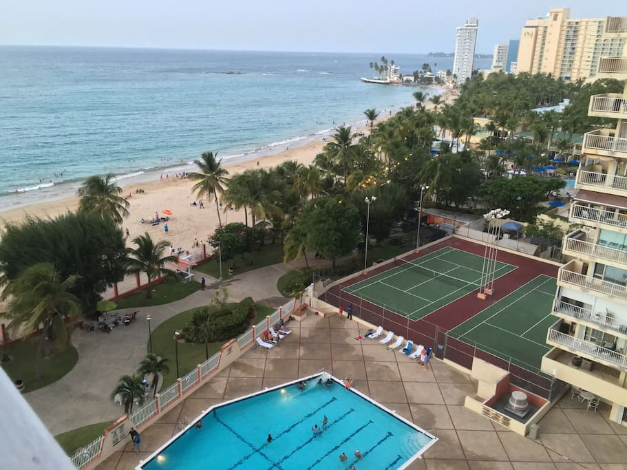 Large pool, playground, beach and tennis courts