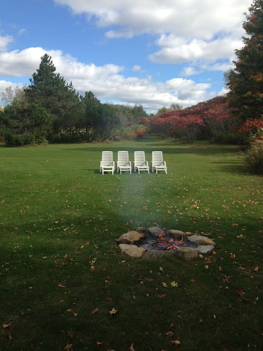 Vast back yard with fire pit