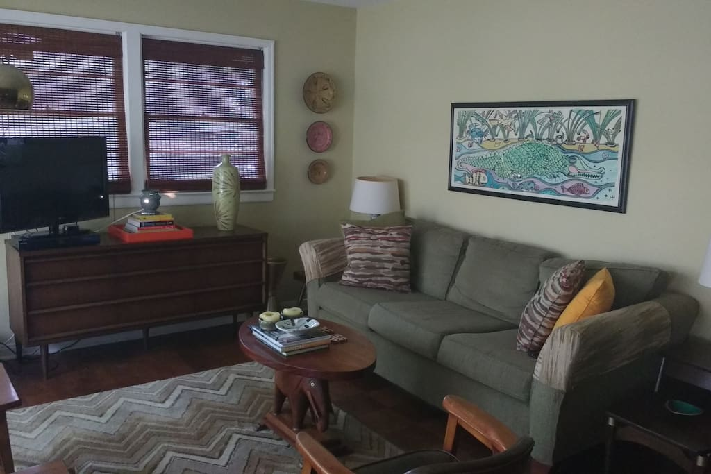 Living room with large window.