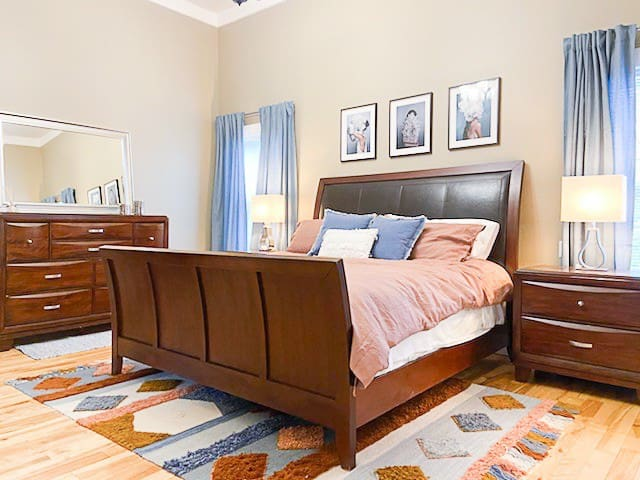 The king sized master bedroom is on the main floor. The walk in closet is simply huge.