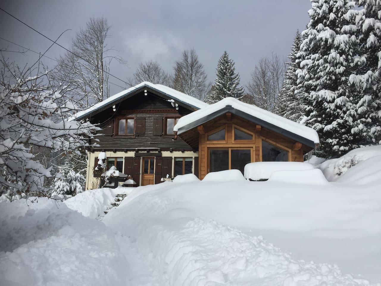 Winter scene / Front of Chalet & Garden