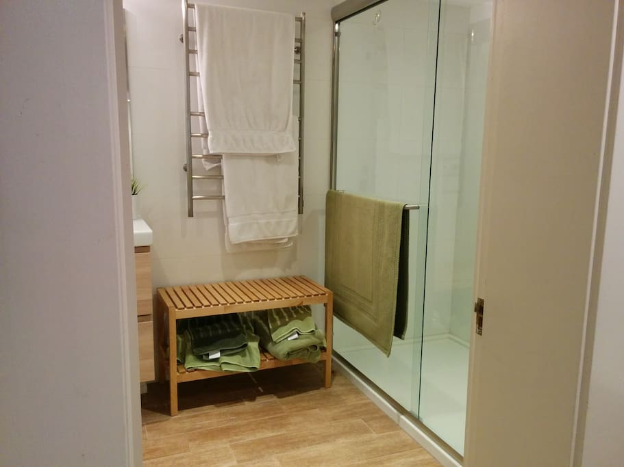 Large walk-in shower. Heated towel rail.