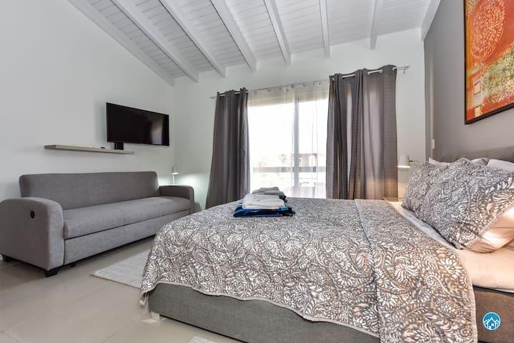 Master bedroom with extra sleep sofa if needed - TV-own bathroom