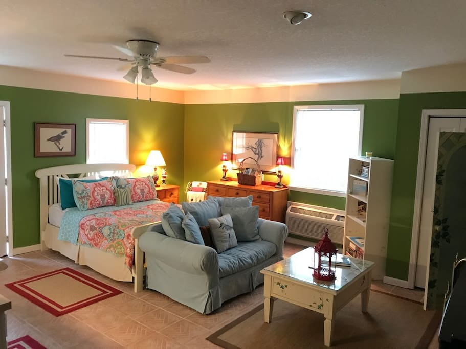 Queen Bed with love seat.