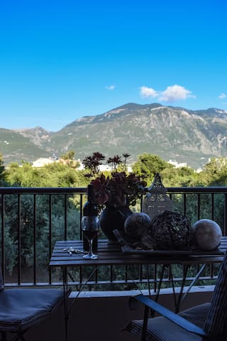 Enjoy your wine in the spacious balcony of the house along with the beautiful view